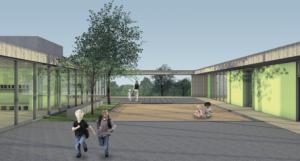 Architekturskizze Kita Innenhof